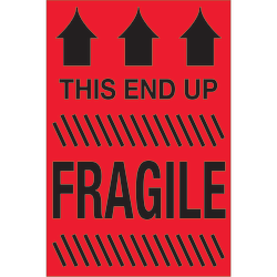 """Tape Logic® Preprinted Special Handling Labels, DL1325, This End Up Fragile, Rectangle, 2"""" x 3"""", Fluorescent Red, Roll Of 500"""