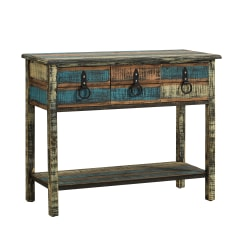 "Powell Bota 3-Drawer Console Table, 31-1/4""H x 38-1/2""W x 15-3/4""D, Weathered Multicolor"