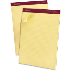 """Ampad® Mediumweight Quadrille Pad, 8 1/2"""" x 11"""", Quadrille Ruled, 50 Sheets, Canary Yellow"""
