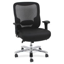 Lorell® Big And Tall Mesh/Bonded Leather Mid-Back Chair, Black