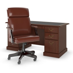 "Bush Furniture Saratoga 66""W Executive Desk With High-Back Leather Office Chair, Harvest Cherry, Standard Delivery"