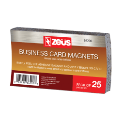 "Baumgartens® Business Card Magnets, 2"" x 3 1/2"", Black, Pack Of 25"