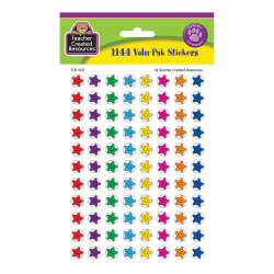 """Teacher Created Resources Mini Stickers, 3/8"""", Smiley Stars, Pre-K - Grade 12, Pack Of 1,144"""