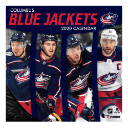 "Turner Licensing Monthly Wall Calendar, 12"" x 12"", Columbus Blue Jackets, 2020"