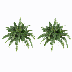 """Nearly Natural 15""""H Polyester Boston Fern Plants, Green, Set Of 2 Plants"""