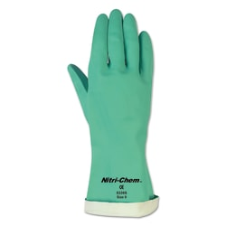 MCR Safety Unsupported Gauntlet Flocked Lined Nitrile Gloves, Size 9, Pack Of 12