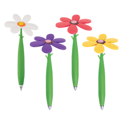 Office Depot® Brand Fun Ballpoint Pen With Topper, Flower, Fine Point, 0.7 mm, Green Barrel, Black Ink