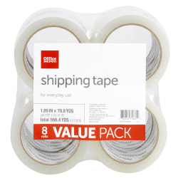 """Office Depot® Brand Shipping Packing Tape, 1.89"""" x 70.8 Yd, Clear, Pack Of 8 Rolls"""