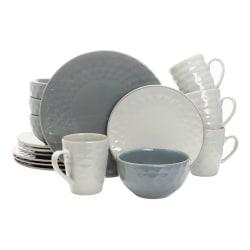 Elama 16-Piece Stoneware Dinnerware Set, Tahitian Pearl