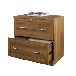 "Realspace® Premium 30""W Lateral 2-Drawer File Cabinet, Golden Oak"