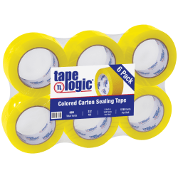 "Tape Logic® Carton-Sealing Tape, 3"" Core, 2"" x 110 Yd, Yellow, Pack Of 6"