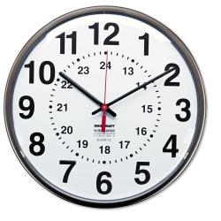 "SKILCRAFT® 24-Hour Clock, 12"" Diameter, Dark Brown (AbilityOne 6645-01-342-8199)"
