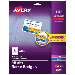 """Avery® Flexible Name Badge Labels, 2 1/3"""" x 3 3/8"""", White, Box Of 160"""