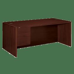 """HON® 10700 Series 72""""W Left Pedestal Desk, Mahogany"""