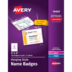 "Avery® Hanging Name Badge Kit, 3"" x 4"", Box Of 100"