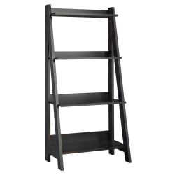 Bush Furniture Alamosa Ladder Bookshelf, Classic Black, Standard Delivery