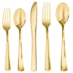 Amscan Premium Plastic Dinner Cutlery Set, Gold, Pack Of 40 Pieces