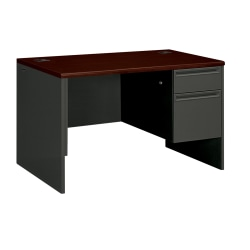 HON® 38000 Series™ Right Pedestal Desk With Lock, Mahogany/Charcoal