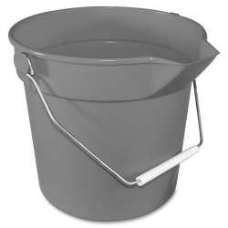 """Impact Products 10-qt Deluxe Bucket - 10 quart - Heavy Duty, Rugged, Spill Resistant, Alkali Resistant, Acid Resistant, Embossed, Handle - 10.3"""" x 11"""" - Polypropylene - Gray - 1 Each"""