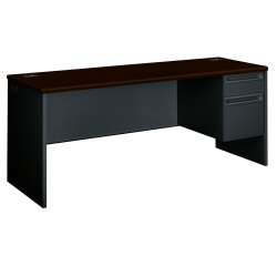 HON®38000 Series Right-Pedestal Credenza With Lock, Mahogany/Charcoal