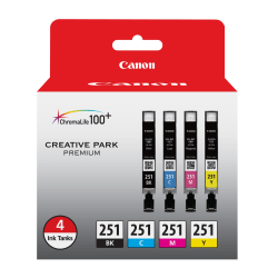 Canon CLI-251 Black/Color Ink Cartridges, Pack Of 4