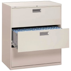 "HON® Brigade® 600 42""W Lateral 3-Drawer File Cabinet, Metal, Light Gray"