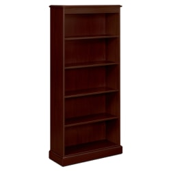 "HON® 94000 Series™ 78 1/4"" 5 Shelf Traditional Bookcase, Mahogany/Dark Finish, Standard Delivery"