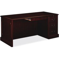 HON® 94000 Series Right Single Pedestal Desk, Mahogany