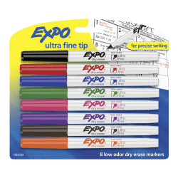 EXPO® Low-Odor Dry-Erase Markers, Ultra-Fine Point, Assorted Colors, Pack Of 8
