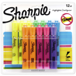Sharpie® Accent® Tank-Style Highlighters, Assorted Colors, Pack Of 12