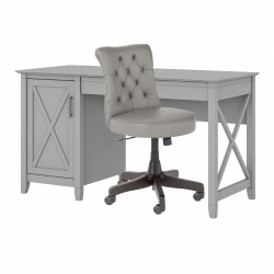 """Bush Furniture Key West 54""""W Computer Desk With Storage And Mid-Back Tufted Office Chair, Cape Cod Gray, Standard Delivery"""