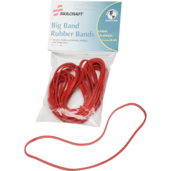 SKILCRAFT® Sterling Grade Big Rubber Band, Red, Pack Of 12 (AbilityOne 7510-01-578-3516)