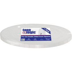 """Tape Logic® Double-Sided Foam Squares, 31.25 mils, 3"""" Core, 1"""" x 1"""", White, Roll Of 648"""