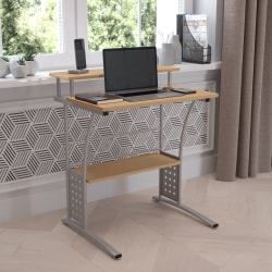 "Flash Furniture 28""W Computer Desk With Storage Shelves, Maple"