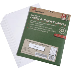 """SKILCRAFT® Extra-Large Color Permanent Inkjet/Laser File Folder Labels, 15/16"""" x 3 7/16"""", 100% Recycled, White, Box Of 25 (AbilityOne 7530-01-578-9297)"""