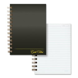 """Ampad Gold Fibre Designer Personal Notebook - 100 Sheets - 5"""" x 7"""" - Burgundy Cover - Pocket, Micro Perforated, Numbered, Durable Cover, Sturdy Back - 1Each"""