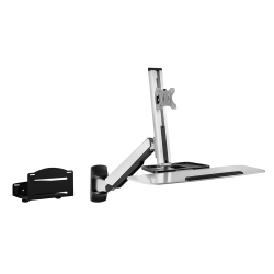 "Mount-It! MI-7905 Standing Computer Desk With Articulating Monitor Mount, Keyboard Tray Arm And CPU Holder, 23""H x 36""W x 7-1/2""D, Silver"