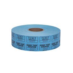 Office Depot® Brand Ticket Roll, Double Coupon, Roll Of 2,000 Tickets, Assorted (No Color Choice)