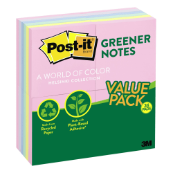 "Post-it® Greener Notes, 3"" x 3"", Helsinki Color Collection, Pack Of 24 Pads"