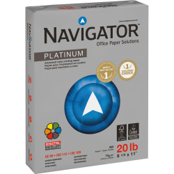 """Navigator Platinum Office Multi-Use Paper, Letter Size (8 1/2"""" x 11""""), 20 Lb, Smooth, Bright White, Carton Of 5,000 Sheets"""