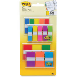 """Post-it® Flag Multipack, 1/2"""" And 1"""", Assorted Colors, Pack Of 320"""