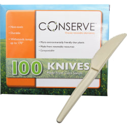 Conserve® Disposable Knives, White, Box Of 100