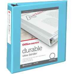 """Office Depot® Brand Durable View Round-Ring Binders, 2"""" Round Rings, Light Blue"""