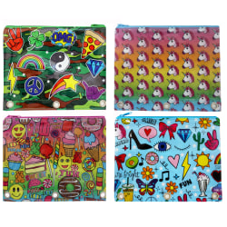 """Inkology Corey Paige Binder Pencil Pouches, 8"""" x 10"""", Assorted Designs, Pack Of 8 Pouches"""