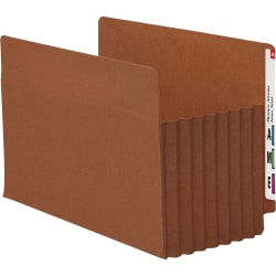 "Smead® TUFF® Pocket File Pockets, End-Tab, Legal Size, 7"" Expansion, 30% Recycled, Red, Box Of 5"