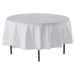 "Genuine Joe Plastic Round Table Covers, 48""-60"" Diameter, White, Pack Of 6"