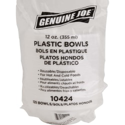 Genuine Joe Reusable/Disposable 12 Oz. Plastic Bowls, White, Pack Of 125