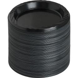 "Genuine Joe 6"" Round Plastic Plates, Black, Pack Of 125"