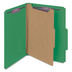 """Smead® Classification Folders, 2"""" Expansion, 1 Divider, 8 1/2"""" x 11"""", Letter, 100% Recycled, Green, Box of 10"""