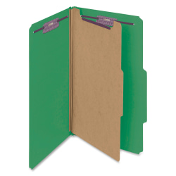 """Smead® Classification Folders, With SafeSHIELD® Coated Fasteners, 1 Divider, 2"""" Expansion, Legal Size, 50% Recycled, Green, Box Of 10"""